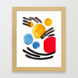 Mid Century Modern Abstract Juvenile childrens Fun Art Primary Colors Watercolor Minimalist Pop Art Framed Art Print