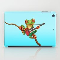 palestine iPad Cases featuring Tree Frog Playing Acoustic Guitar with Flag of Palestine by Jeff Bartels