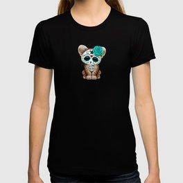 Blue Day of the Dead Sugar Skull Leopard Cub T-shirt