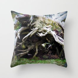 The enchanted fallen tree Throw Pillow