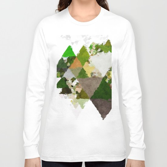 Spring Triangles - Fresh green and white triangle pattern - Greenery on #Society6 Long Sleeve T-shirt