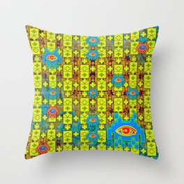 DMT Spaceinvaders Throw Pillow