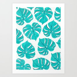 Monstera leaf pattern in turquoise blue Art Print