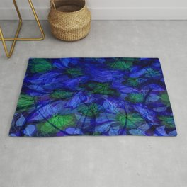 Blue And Green Marble Abstract Rug