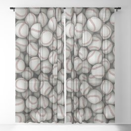 Baseballs Sheer Curtain