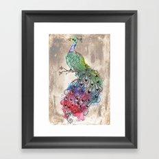 Grunge Peacock Framed Art Print