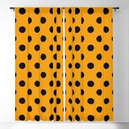 Polka Dots (Black & Classic Orange Pattern) Blackout Curtain