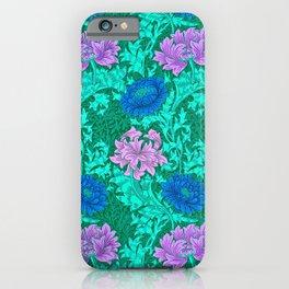 William Morris Chrysanthemums, Aqua and Violet iPhone Case
