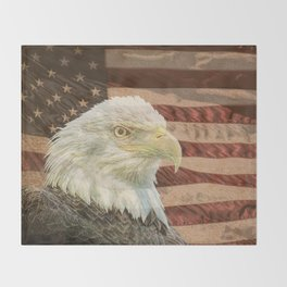 Rustic Bald Eagle on American Flag A213 Throw Blanket