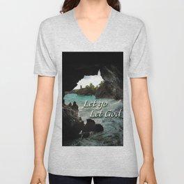 Let Go, Let God  - Sea Cave Unisex V-Neck