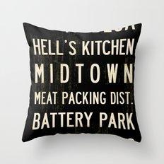 NYC Transit Sign Throw Pillow