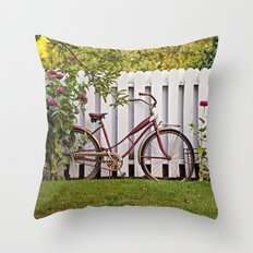 Bike with Fence & Flowers Throw Pillow
