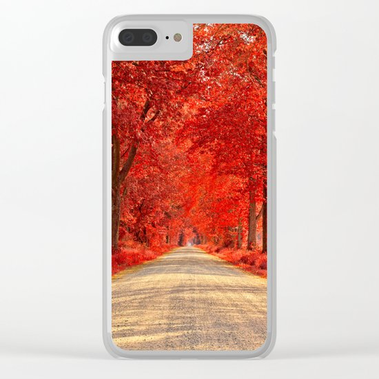 Red Forest Autumn Path Clear iPhone Case