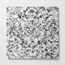 Black and White Veined Faux Marble Repeat Metal Print