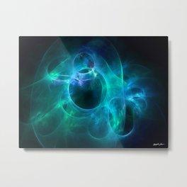 Aqua Blue and Green Circles 1 Metal Print