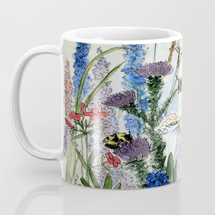 Wildflower in Garden Watercolor Flower Illustration Painting Kaffeebecher