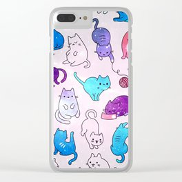 Space Cats Pattern Clear iPhone Case