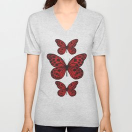 Red butterfly. Big butterfly. Insect Unisex V-Neck