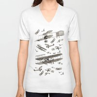 airplanes V-neck T-shirts featuring airplanes 2 by Кaterina Кalinich