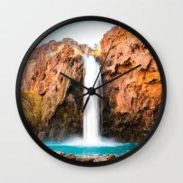 Desert Oasis Waterfall, Havasu Falls Havasupai Indian Reservation, Aqua Water Wall Clock