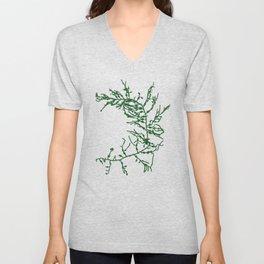 Green Seaweed Pattern Unisex V-Neck