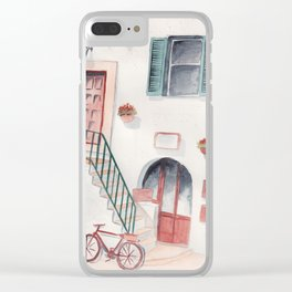 Italy street watercolor Clear iPhone Case