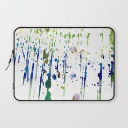 Artistic modern blue green watercolor splatters Laptop Sleeve