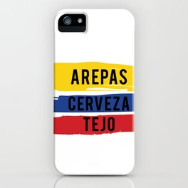 Funny Tejo print Gift Arepas Cerveza Tejo Colombia flag product iPhone Case