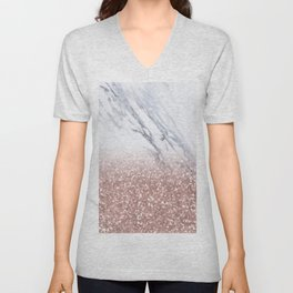 Rose Gold Glitter Marble Unisex V-Neck