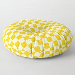 Cream Yellow and Amber Orange Checkerboard Floor Pillow