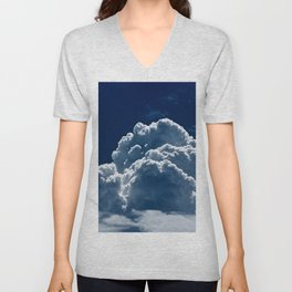 Puffy Cumulus clouds on Deep Blue Sky Unisex V-Neck