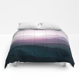 dark blue mountain landscape with fog and a sunrise and sunset Comforters