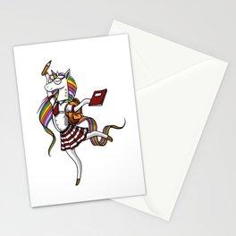 Unicorn Schoolgirl Magical Student Stationery Cards