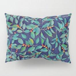 Leaves + Berries in Navy Blue, Teal & Tangerine Pillow Sham