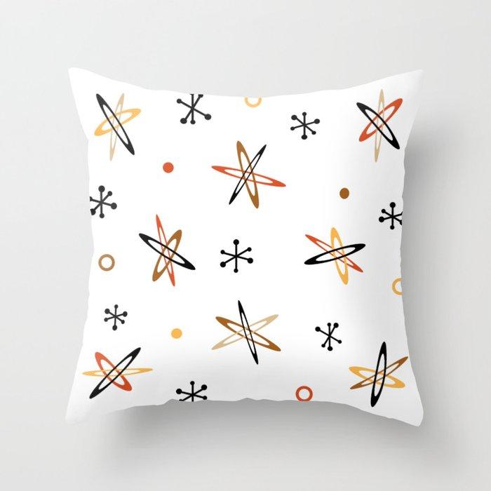 Atomic Era Space Age Orange Brown White Throw Pillow