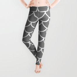 Grey fish scales pattern Leggings