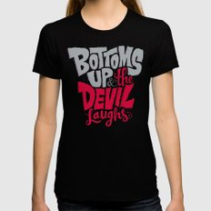 Bottoms Up & The Devil Laughs Womens Fitted Tee X-LARGE Black