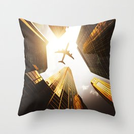 airplane in nyc Throw Pillow