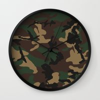 camo Wall Clocks featuring Camo by TheSmallCollective