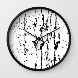 poured paint blots black and white Wall Clock
