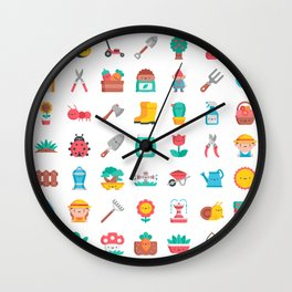 CUTE GARDENING PATTERN Wall Clock