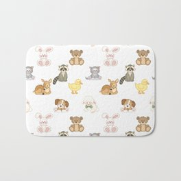 Cute Woodland Farm Baby Animals Nursery Bath Mat