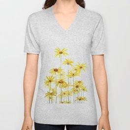 Yellow sunchoke flowers painting Unisex V-Neck