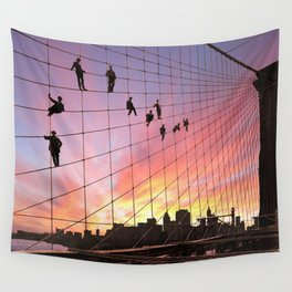 Brooklyn Bridge Painters Quitting Time Wall Tapestry