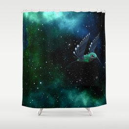 Space Hummingbird Shower Curtain