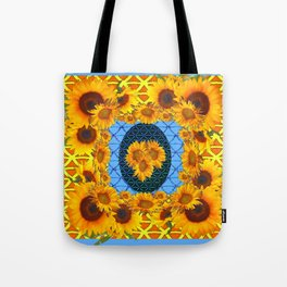 DECORATIVE  BABY BLUE ART & YELLOW SUNFLOWERS Tote Bag