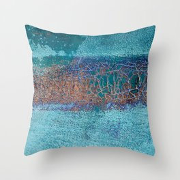 Rust and Cracks Turquoise Throw Pillow