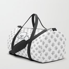 Cute White Bichon Frise Dog Cartoon Illustration Duffle Bag