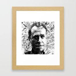 CHARLES BUKOWSKI (BLACK & WHITE VERSION) Framed Art Print