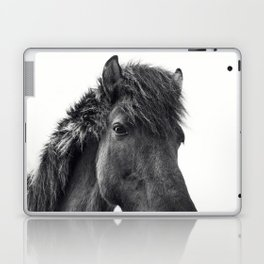 Fuzzy Horse Photograph in Black and White Laptop & iPad Skin